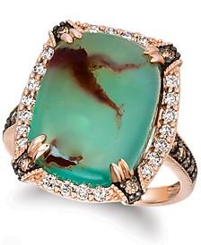 Crème Brûlée® Aquaprase Candy & Diamond (5/8 ct. t.w.) Statement Ring in 14k Rose Gold