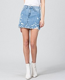 Women's Heavily Distressed Mini Denim Skirt
