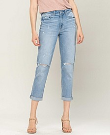 Women's Distressed Double Cuffed Stretch Mom Jeans