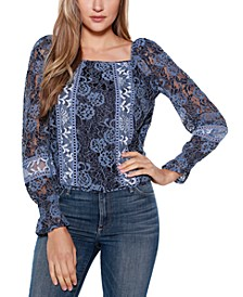 Black Label Mixed Lace Square Neck Puff Sleeve Top