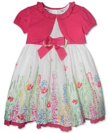 Baby Girls 2-Pc. Watercolor Floral-Print Dress & Cardigan Set
