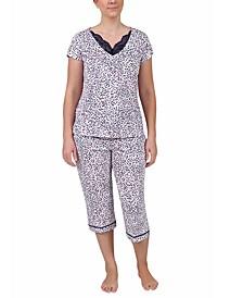 Lace-Trim Printed Pajama Set