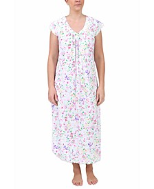 Floral-Print Short-Sleeve Long Nightgown