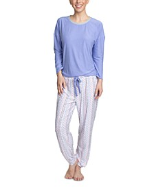 Cool Girl Solid Top & Printed Jogger Pants Pajama Set