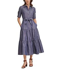 Cotton Chambray Maxi Dress
