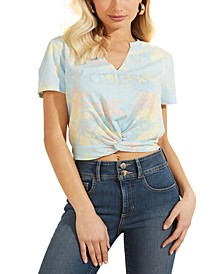 Embellished Twist-Hem Cotton T-Shirt