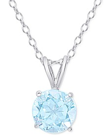 """Aqua Topaz Round Solitaire 18"""" Pendant Necklace (1-1/2 ct. t.w.) in Sterling Silver"""