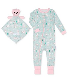 Baby Girls 1-Piece Llama-Print Coverall with Blankie Baby
