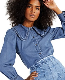 INC Wide-Collar Chambray Button-Front Shirt, Created for Macy's