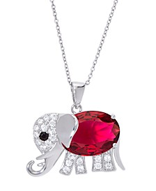 "Simulated Birthstone Elephant Pendant 18"" Necklace in Fine Silver Plate"