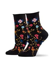 Women's Floral Crew Sock