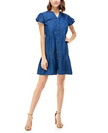 Juniors' Cotton Chambray A-Line Dress