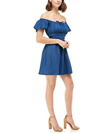 Juniors' Cotton Chambray On & Off Shoulder Dress