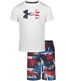 Little Boys Fireworks T-shirt and Swim Shorts Set