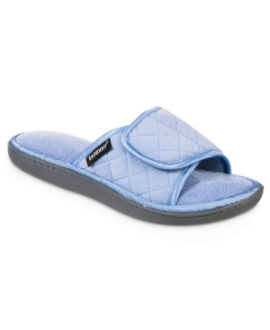 Women's Quilted Memory Foam Microterry and Satin Adjustable Slide Slippers