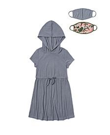 Little Girls Waist Tie Hooded Dress with Match Back Mask