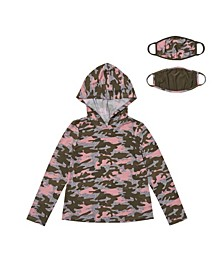 Little Girls Hooded Tee with Match Back Mask