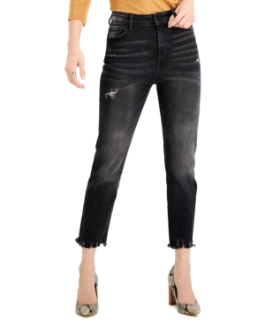 Kendall + Kylie Juniors' Distressed High-Rise Cropped Slim Straight Jeans