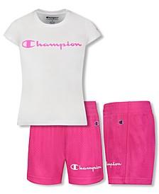 Baby Girls 2-Pc. Logo T-Shirt & Mesh Shorts Set
