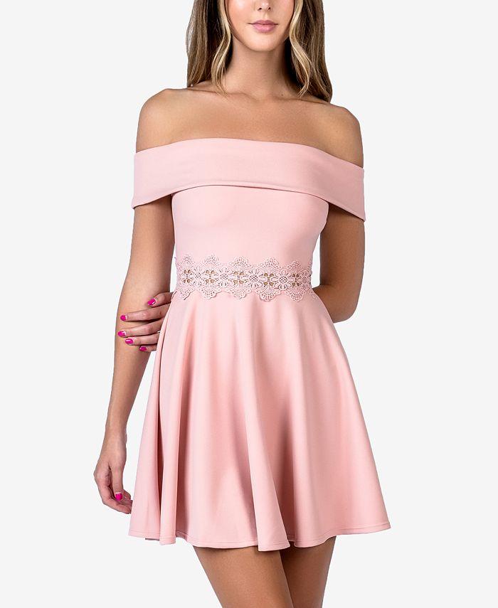 B Darlin - Juniors' Off-The-Shoulder A-Line Dress