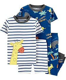 Toddler Boys Giraffe Snug Fit Pajamas, 4 Piece