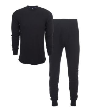 Men's Knit Underwear Waffle Thermal 2-Piece Set