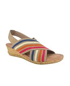 Geena Cross Wedge Sandal