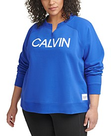 Plus Size Split Neck Sweatshirt