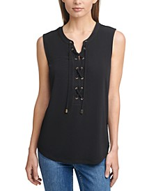 Solid Lace-Up Sleeveless Top