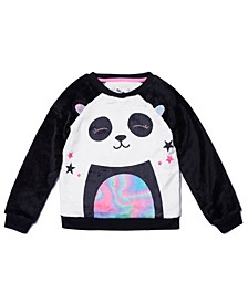 Little Girls Long Sleeve Graphic Minky Pullover