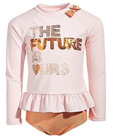 Toddler Girls 2-Pc. The Future is Ours Rash Guard Set