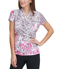 Mix-Print Ruched Top