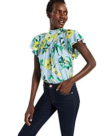INC Cotton Printed Ruffled Blouse, Created for Macy's