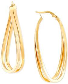 Polished Double Curve Hoop Earrings in 14k Gold
