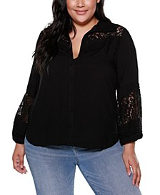 Black Label Plus Size Button Front Collared Shirt