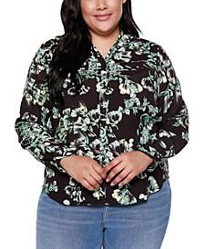 Black Label Plus Size Floral Print Shirt