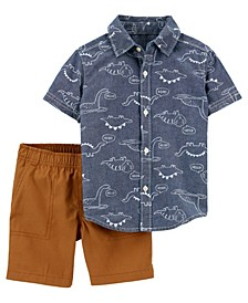 Baby Boys Chambray Shirt and Short Set, 2 Pieces
