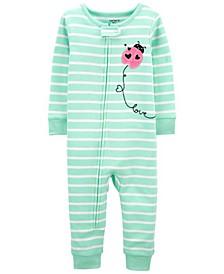 Baby Girls Ladybug Footless Pajamas