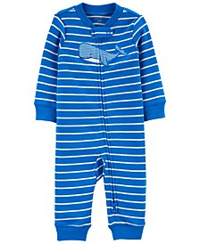 Baby Boys Whale Zip-Up Footless Sleep and Play One Piece