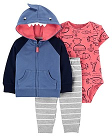 Baby Boy Shark Little Jacket Set, 3 Pieces