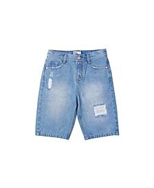 Big Boys Light Destroy Denim Shorts