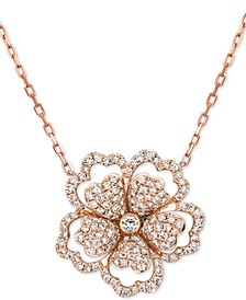 """Nude Diamond Flower 18"""" Pendant Necklace (2 ct. t.w.) in 14k Rose Gold"""