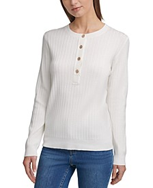 Ribbed Button-Up Henley
