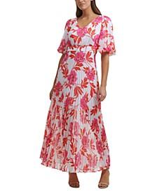 Pleated-Skirt Maxi Dress