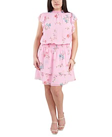 Plus Size Smocked Printed Flutter-Sleeve Dress