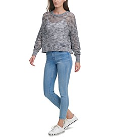 Juniors' Open-Knit Sweater