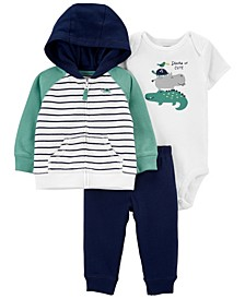 Baby Boys Striped Little Jacket Set, 3 Pieces