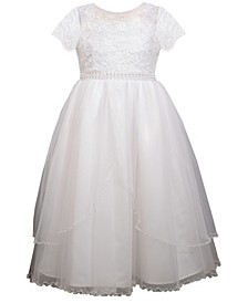 Big Girls Short Sleeve Lace Bodice Dress