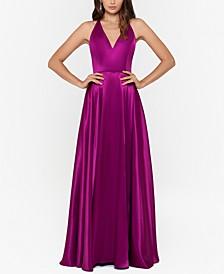 Tricolor Tie-Back Satin Gown