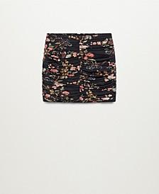 Women's Gathered Printed Mini Skirt